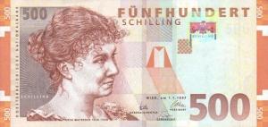 banknote-500-austrian-schilling-Rosa-Mayreder-obverse